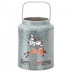 Galvanized Metal LED Candle Lantern - Merry Christmas