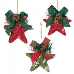 Burlap Christmas Star Ornaments Set