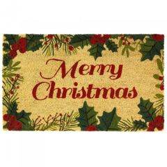 Merry Christmas Coir Welcome Mat with Holly Border