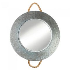 Round Tin Wall Mirror with Rope Handles