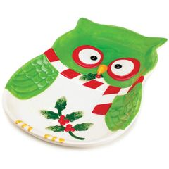 Holiday Hoot Ceramic Owl Platter