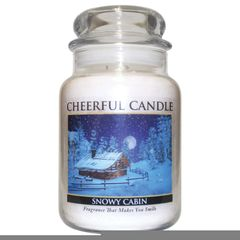 Snowy Cabin Cheerful Candle 24 OZ.