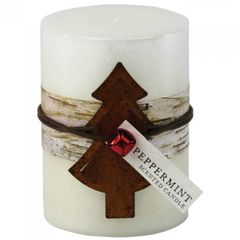 Rustic Peppermint-Scented Candle with Jingle Bell - 4 inches
