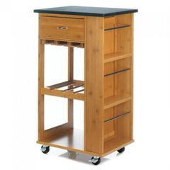 Marble-Top Bamboo Rolling Kitchen Cart