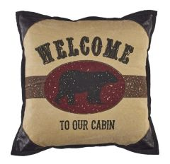 """Welcome To Our Cabin"" Bear Pillow"