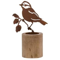 Rusty Bird Tealight Holder, 7""