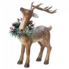 12-inch Rustic Reindeer Figurine with Wreath - Prancer