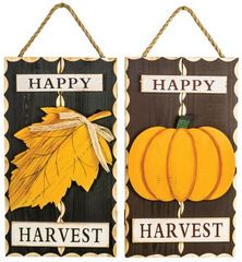 Happy Harvest Leaf Pumpkin Hanger 2 Asst
