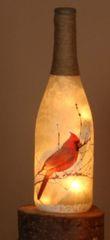 Glass Cardinal Bottle w/Light