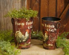 Farm Fresh Eggs - Planters Set Of 2