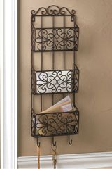 Black Iron Triple Wall Rack with Hooks