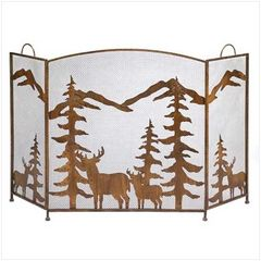 Rustic Country Forest Fireplace Screen