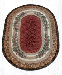 Pinecone Red Berry Oval Rug