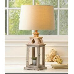 Table Lamp with Brushed Wood Candle Lantern Base