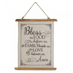 Linen Wall Art - Bless the Food Prayer