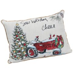 "Fabric ""sow holiday cheer"" pillow"