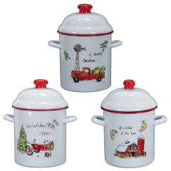 Enamel country canisters with handles set of 3