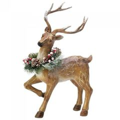13-inch Rustic Reindeer Figurine with Wreath - Blitzen