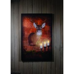 LIGHTED LARGE MOUNTED DEER CANVAS