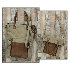 Tan & Leather Fold-Over Convertible Tote