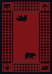 Bear Refuge Rug- Rectangle - 8x11 - Red
