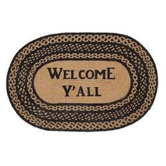 Welcome Ya'll Farmhouse Jute Oval Rug, 20x30
