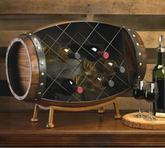 Countertop Wood Barrel Wine Rack