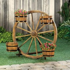 Wood Wagon Wheel Plant Display