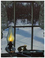 Oil Lamp In Window Lit Canvas