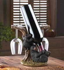 Black Bear Wine Bottle and Glasses Holder