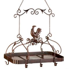 Rooster Iron Overhead Kitchen Rack