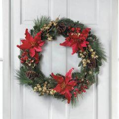 Faux Poinsettia Christmas Wreath