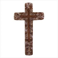 Wood Carved Rustic Wall Cross