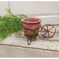 "Rusty Wheelbarrow w/Terracotta Planter, 11.5"""