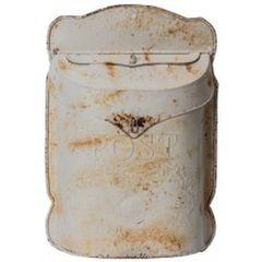 Metal post box antique white