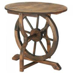 Wood Wagon Wheel End Table