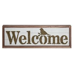 Welcome Sign w/ Moss Accent