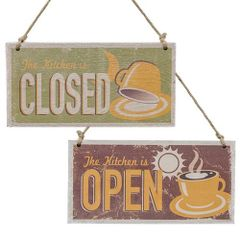 Kitchen is Open & Closed Sign