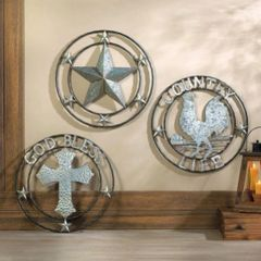 Galvanized Metal Wall Decor - Rooster Country Life