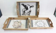 Wood Farm Tray Set