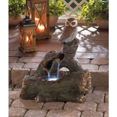 Country Owl Perch Outdoor Fountain