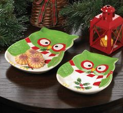 Holiday Hoot Ceramic Owl Appetizer Plate