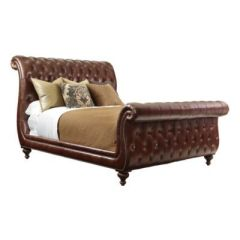 Sleigh Leather Bed