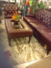 Henredon tufted leather sofa