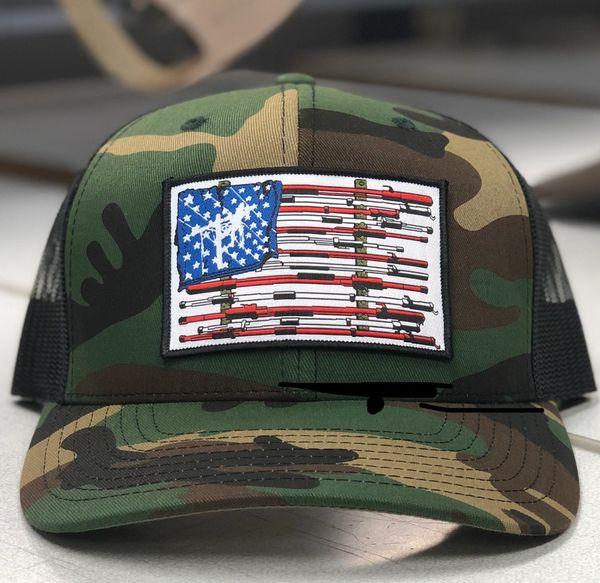 7e2aa3cec1e11 Camo Fried Squirrel Hat Co. American Flag Lineman Shotgun Sticks