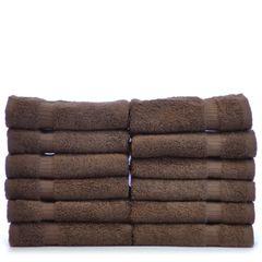 Luxury Hotel & Spa Towel 100% Genuine Turkish Cotton Washcloths - Cocoa - Dobby Border - Set of 12