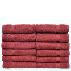 Luxury Hotel & Spa Towel 100% Genuine Turkish Cotton Washcloths - Cranberry - Dobby Border - Set of 12