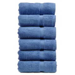 Luxury Hotel & Spa Towel 100% Genuine Turkish Cotton Hand Towels - Wedgewood-Dobby Border-Set of 6