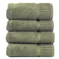 Luxury Hotel & Spa Towel 100% Genuine Turkish Cotton Bath Towels - Moss - Piano - Set of 4
