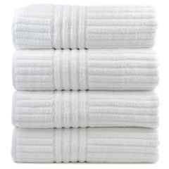 Luxury Hotel & Spa Towel 100% Genuine Turkish Cotton Bath Towels - White - Striped - Set of 4